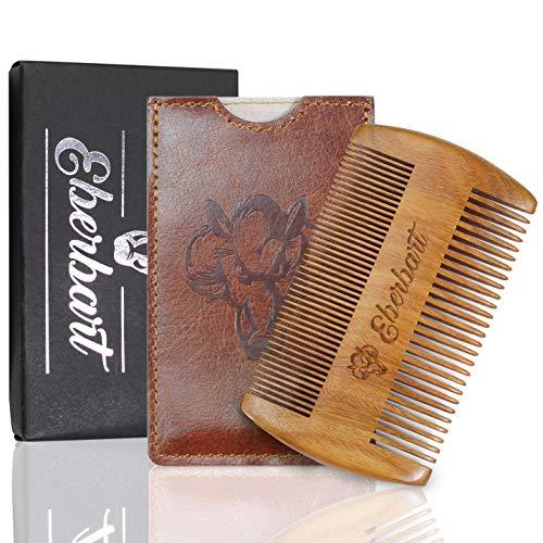 Eberbart Bartkamm inkl. Kunstleder Etui + Gratis-eBook – Antistatischer Echtholzkamm für einen natürlich gepflegten Bart (Birnenholz + Etui)