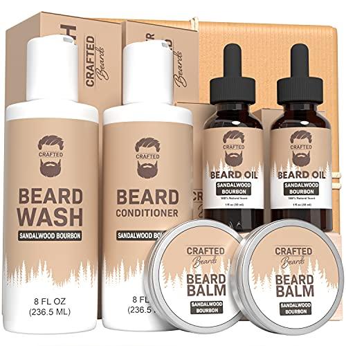 Bartpflegeset – Handgefertigtes Bart Ultimatives Bartpflegeset – Sandelholz Bourbon – Bartwaschung – Bartspülung – 2 Bartöle – Bartbutter – Bartbalsam – Bestes Geschenk für Männer