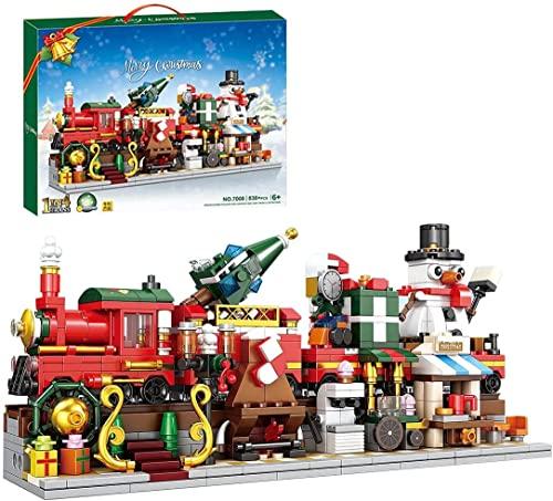 CCOPHTY Weihnachtsbausteine Set, Bewegliche 4 IN 1 Weihnachtszug Bausatz, Kreatives Schneemann Modular Bausteine Modell, Weihnachten Adventskalender, DIY Weihnachtsspielzeug kompatibel Lego(838Teile)