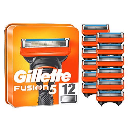 Gillette Fusion 5 Rasierklingen, 12 Ersatzklingen für Nassrasierer Herren mit 5-fach Klinge