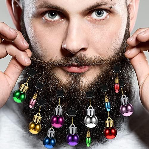 12 Stück Bartschmuck Weihnachts Bartkugeln Dekoration Gesichtsbehaarung Kugeln Dekoration für Männer Frauen Haare Weihnachtsfeiertagsdekorationen