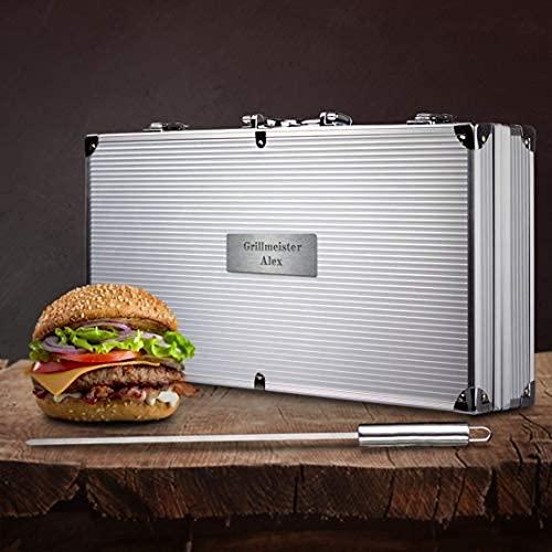 Smyla Personalisierter Grillkoffer mit Gravur   Premium Grillbesteck aus Edelstahl mit Wunsch-Namen   professionelles Grill-Zubehör als Geschenk für Männer - Silber, 15-Teilig