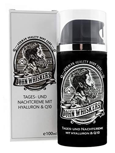 John Whiskers Tages- und Nachtcreme – Made in Germany – mit Hyaluron und Q10 – Gesichtspflege und...