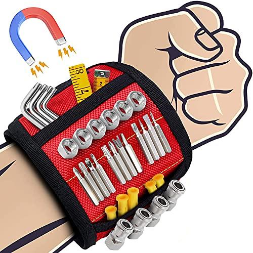 Magnetisches Armband Werkzeug, Bestes Männer Geschenke Magnetisches Armband, Magnetarmband Handwerker mit 15 Leistungsstarken Magneten, adventskalender , Papa Geschenk (Rot)