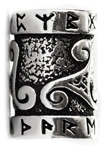 Windalf Celtic Haar & Bartperle TRIRUNA 15 mm Asatru Vikings Runen & Triskele Haarschmuck Haarperle 925...