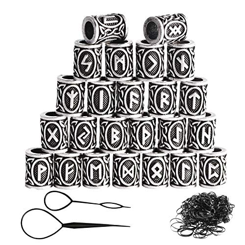 zooting 24 Stücke Wikinger Rune Perlen Und Schwarz Gummibänder Set Zubehör Für Flechten Armband Halskette, DIY Groß Metal Viking Runen Haar Bartperlen mit Clip Für Damen Frauen Mädchen Männer