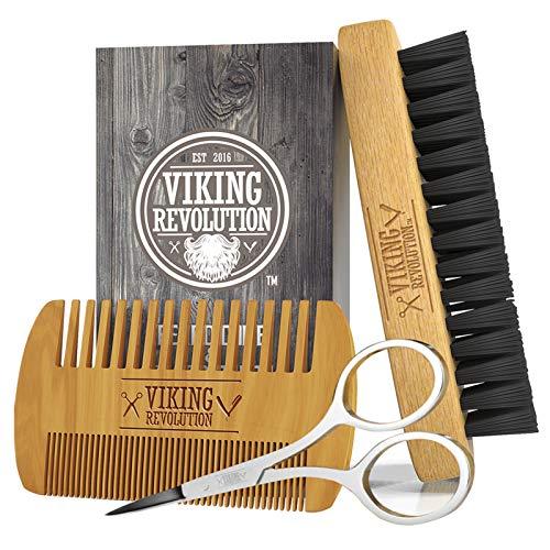 Bartkamm und Bartbürsten Set für Männer- Natürliche Wildschweinborsten Bürste und Kamm aus wirkendem...