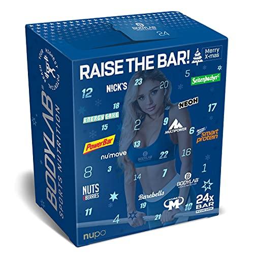Bodylab24 Riegel Adventskalender 2021, Fitness Adventskalender mit 25 Protein-Riegeln und Energy-Riegeln von Top Marken, High Protein Snacks für eine sportliche Adventszeit