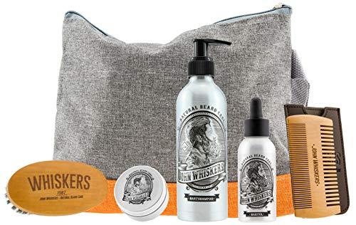 John Whiskers Bartpflege Set – Bartwachs, Bartbürste, Bartöl, Bartkamm und Bartshampoo in praktischem...
