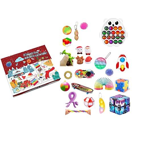 BRAINYTOYS Adventskalender Spielzeug,ZappelblöCke 24 Pack Sensorie Zappel Spielzeug Stress Relief Und Anti-Angst-Werkzeuge Bundle Cube Magic Timet Sensory Toys Set for Autismus Stress Angst