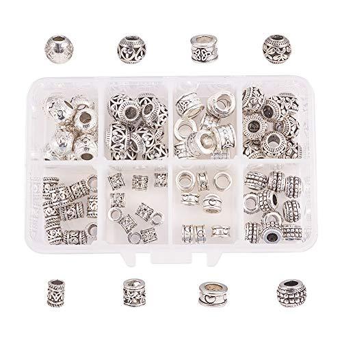 NBEADS 1 Box 80 Teile/schachtel Legierung Europäischen Perlen Legierung Perlen für Armband Schmuck Machen Dreadlocks Flechten Haarschmuck Zubehör, Mischformen, Antik Silber Farbe