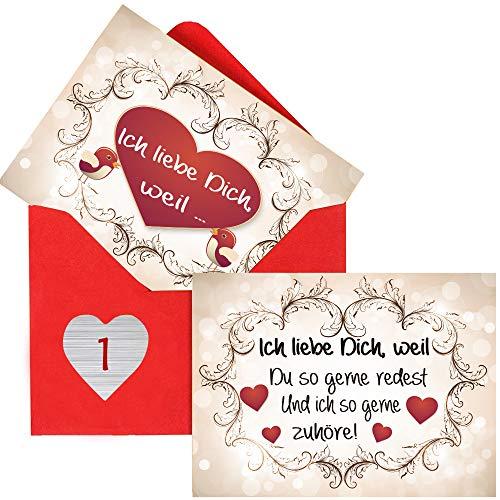 Sinoest Adventskalender zum Befüllen mit 24 Karten Ich Liebe Dich, Weil Geschenke für Männer, Frauen,...