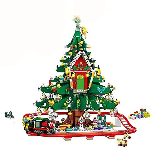 Weihnachten Bausteine Bauset, 2126 Teile 2021 Weihnachten Baumhaus Zug Adventskalender Modular Haus Architektur Modell, Klemmbausteine Kompatibel mit Lego Weihnachten 35 * 35 * 40cm