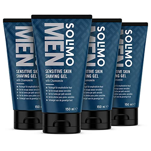 Amazon-Marke: Solimo Men Rasiergel für empfindliche Haut, 4 x 150ml