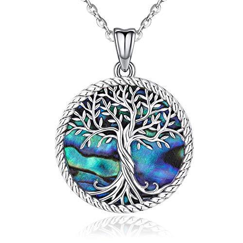 Baum des Lebens Halskette, 925 Sterling Silber Abalone Muschel Familie Baum des Lebens Anhänger, Personalisierte Silber Schmuck für Frauen, Besondere Geschenke für Mama/Freundin/Frau