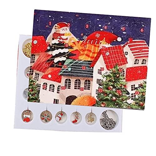 wojonifuiliy Weihnachten Adventskalender Schmuckset, 24 Tage Countdown Kalender, Weihnachts Adventsüberraschung Mystery Blind-Box Set, DIY Kreative Ornamente (A-05)
