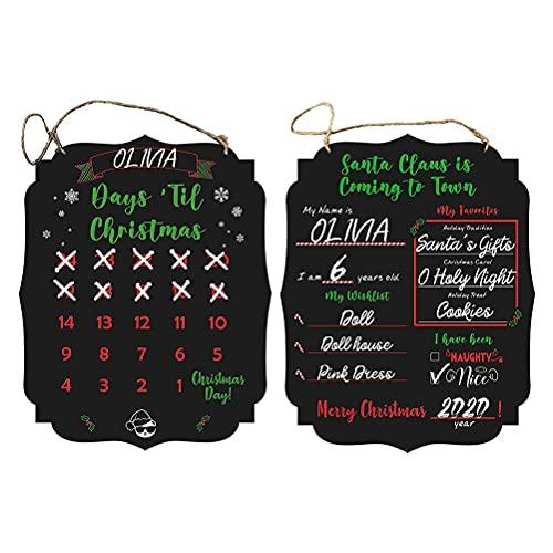 Nanga Bawa Adventskalender 2021 - Weihnachts-Requisiten Tafel -Wiederverwendbarer doppelseitiger Weihnachts-Adventskalender 24 -Tage-Wunschliste für Kinder