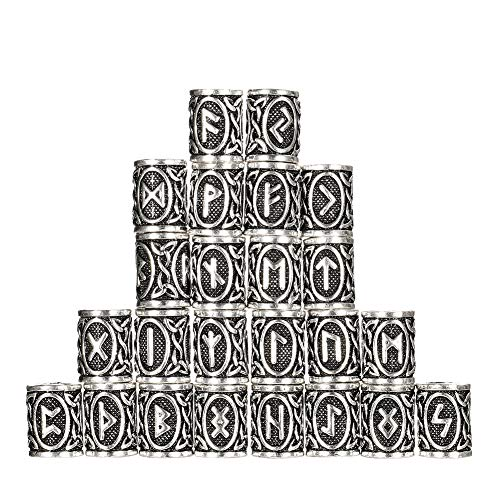 limewie 24 Stück Nordischen Wikinger Runen Haar Bart Perlen für Armbänder Anhänger DIY, Perlen für Haar Zöpfe Antik Silber Bart Wikinger Perlen Kits(Uraltes Silber)