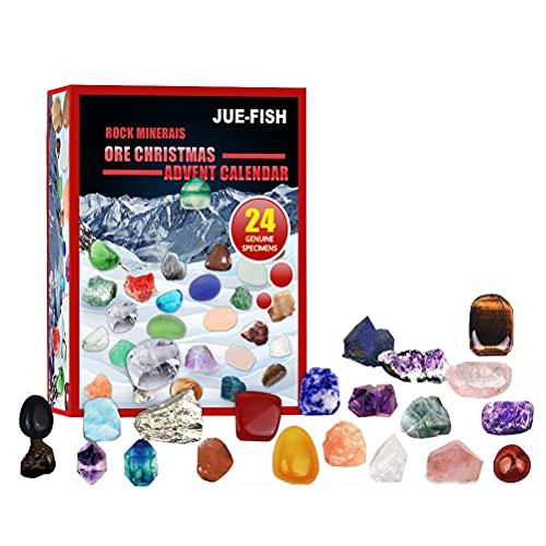CZSMART Weihnachten Adventskalender Mineralien Steine Spielzeug, 24 Tage Countdown Kalender Erz Geschenkbox Spielzeug, Pädagogisches Spielzeug Geschenk für Kinder