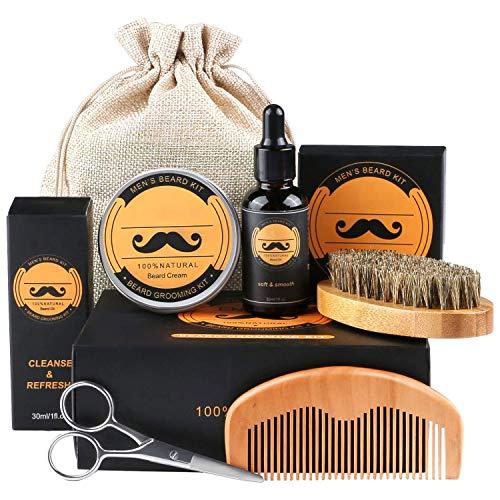 Bartpflege Set, Fixget Bartpflege set für Männer Wildschweinborsten Bartbürste Bartkamm & Bartöl & Beard...