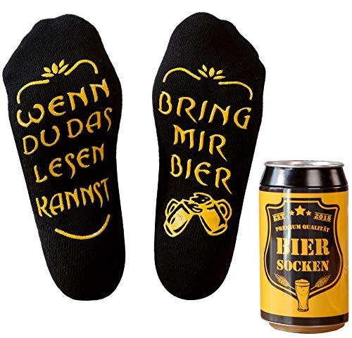 Top-Geschenk24.de Bier Socken Herren, Bier Geschenk für Männer, Weihnachtsgeschenk, lustige Socken m. Wenn Du das Lesen Kannst bring mir Bier, Geburtstagsgeschenk, 37- 44, Schwarz
