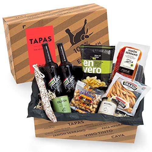 Präsentkorb Spanische Delikatessen - TAPAS I gefüllter Geschenkkorb mit Bier & Spezialitäten aus Spanien I...