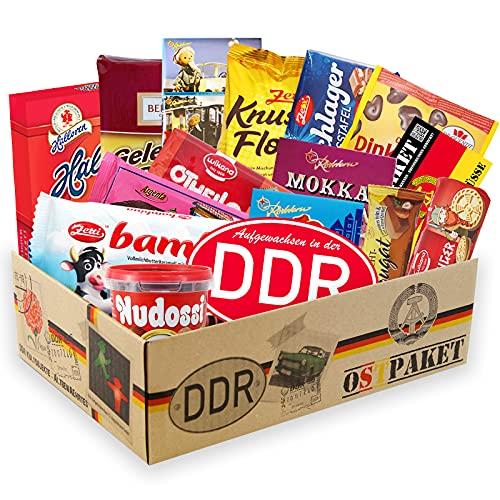 Ostpaket Schokobox XL 'Beste Freundin' inklusive DDR Aufkleber 'Aufgewachsen in der DDR' Ostalgie Geschenkset Geschenkbox Geschenkpaket Party Geburtstag