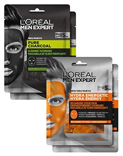 L'Oréal Men Expert Maskenset, Pflegeset für Männer mit reinigenden und feuchtigkeitsspendenden Gesichtsmasken, aktiver Schutz gegen Pickel und Mitesser, 120 g