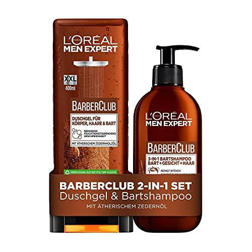 L'Oréal Men Expert 2-in-1-Set für Männer mit 3-in-1 Bartshampoo und XXL-Duschgel, Barber Club, 2-teilig