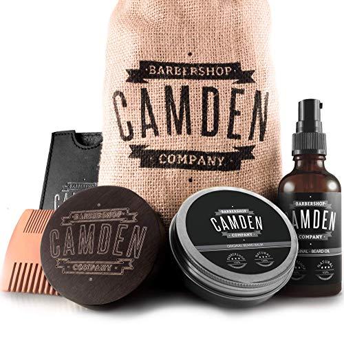 Bartpflege-Set von Camden Barbershop Company ● 100% Natürlich ● inkl. Bart-Öl, Bartwachs, Bartbürste,...
