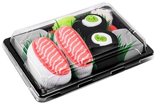 Rainbow Socks - Damen Herren - Sushi Socken Lachs Nigiri Gurken Maki - Lustige Geschenk - 2 Paar - Größen 36-40