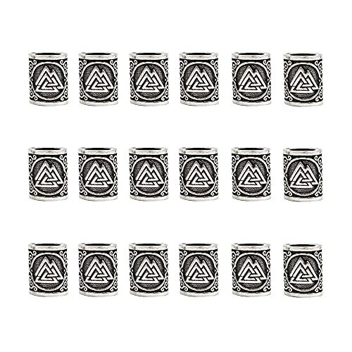 18 Stück Wikinger-Runen-Perlen skandinavische Perlen Metall Dreadlocks-Perlen Wikinger Bartperlen für Anhänger Armband Haar Bärte Maiking