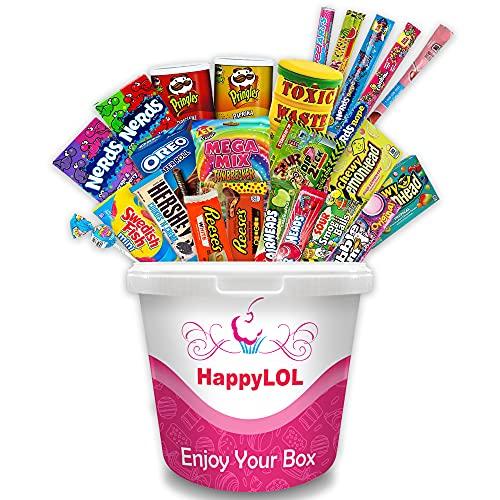 HappyLoL Amerikanische Süßigkeiten Box - 1,3 kg XXL Candybox - Typisch Amerikanisch - Mega Geschenk - Probiere Süßigkeiten aus der USA - Endlich wie ein Amerikaner Naschen