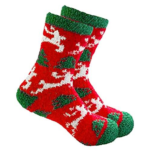 Weihnachtssocken Kuschelsocken Flauschige Socken Weihnachten Socken Lustige Bettsocken Adventkalender Socken Christmas Wichtelgeschenk Geschenk Weihnachtssocken Christmas Socks (Weiß, One Size)
