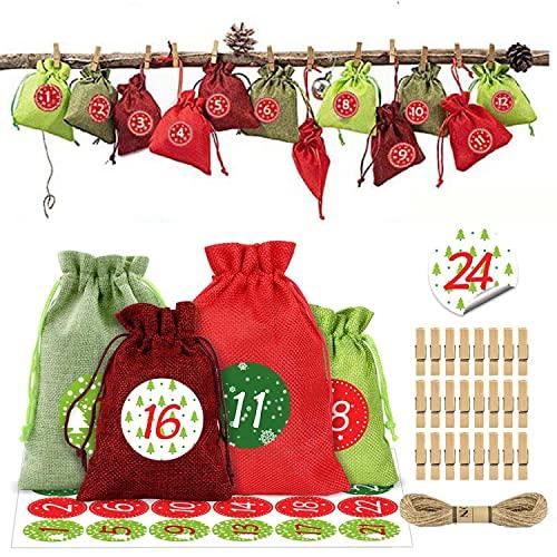 ZBYL 24 Adventskalender Zum Befüllen Weihnachten Geschenksäckchen selber basteln mit 1-24 Adventszahlen Aufkleber Weihnachtskalender Bastelset DIY Adventskalender 2023 für Männer Frauen Kinder