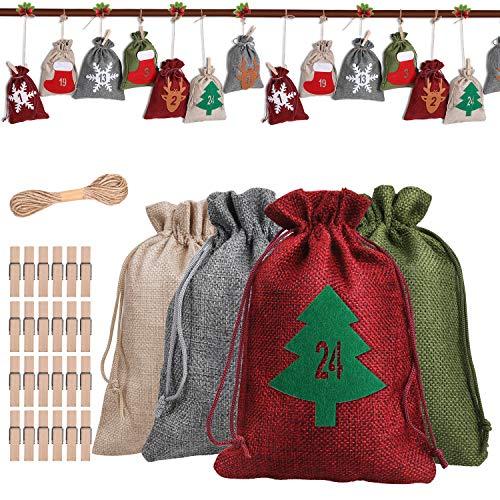 Anpro DIY Adventskalender zum Befüllen Stoffsäckchen - Jutesacken Groß Weihnachten Geschenksäckchen mit 24...