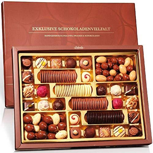 Exklusive Schokoladenvielfalt Klassiker - Schokoladen Set in exklusiver Geschenkbox - Pralinen Geschenk für jedes Schokogelüst