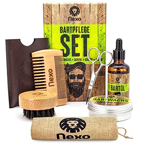 NEXO ® Bartpflege Set – [60] g Bartwachs & [50] ml Bartöl – Bart Box mit Bartwachs + Bartöl +...