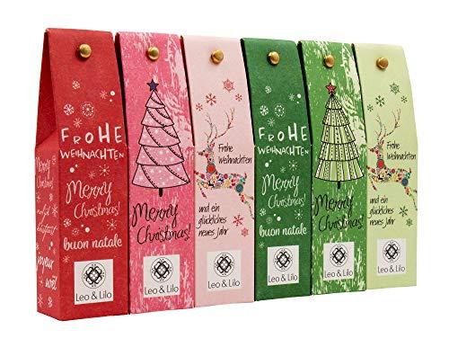 Leo & Lilo Kleiner Weihnachtsgruß, Geschenkset mit 6 Handcremes in zauberhafter Verpackung, Naturkosmetik Made in Germany