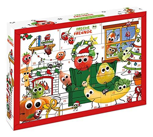 Freche Freunde Bio Adventskalender für Kids, Weihnachtskalender, enthält 24 Bio Kinder-Snacks und Überraschungen, ohne Industriezucker, ideal für Kinder