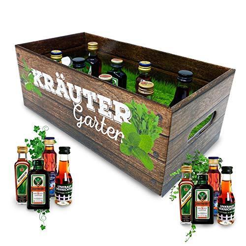 Männer-Kräutergarten   witziges Geschenk mit Alkohol   8x Kräuter-Likör für Männer und Frauen   Jägermeister, Kümmerling u.v.m.