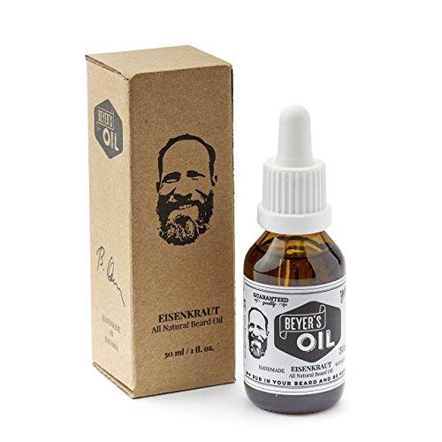 Beyer's Oil Bartöl Eisenkraut 30ml - Handgemacht in Bayern - 100% natürliche Bartpflege mit Bio Jojobaöl -...