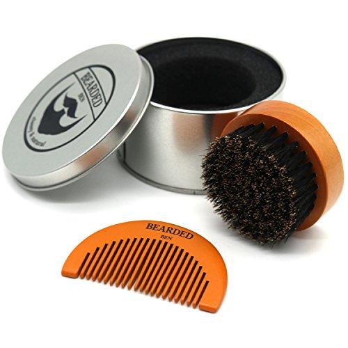 BEARDED BEN Bartbürste mit Wildschweinborsten in hochwertiger Aufbewahrungsbox/Geschenkbox, inkl. Bartkamm,...