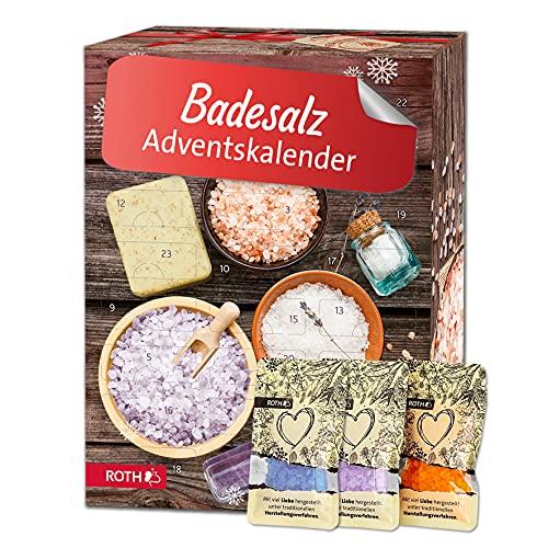 ROTH Badesalz Adventskalender 2021 gefüllt mit hochwertigen Meersalz-Mischungen, Kalender mit losen Badesalz zum Baden & Wellness
