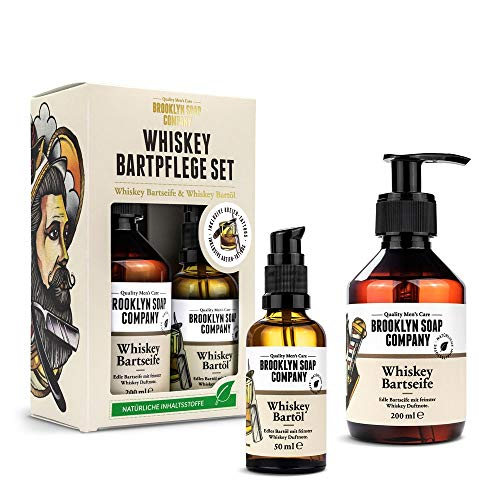 Whiskey Bartpflege Set · Brooklyn Soap Company · Geschenkset für Männer inkl. Bartöl & Bartshampoo mit...