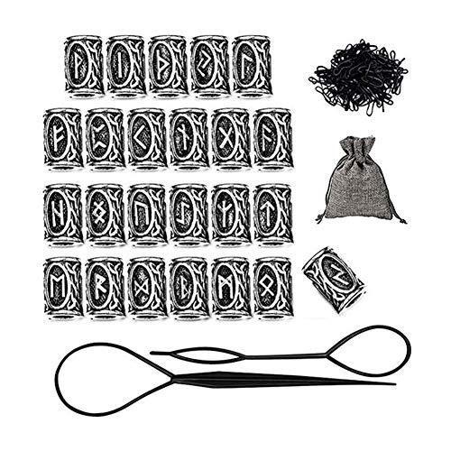 Wuudi Runes Beads Perlen,Bartperle Wikinger,24 Stück Bartperle DIY Haar Runen Zubehör Set für Armbänder...
