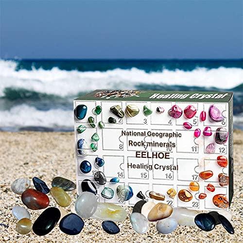 DongLaiYanLin Kristall Adventskalender, 24 stücke Aufkleber Crystal Repair Stein Kit Heilung Kristall Adventskalender, Weihnachten Mineralien Geschenkbox für Jungen Mädchen