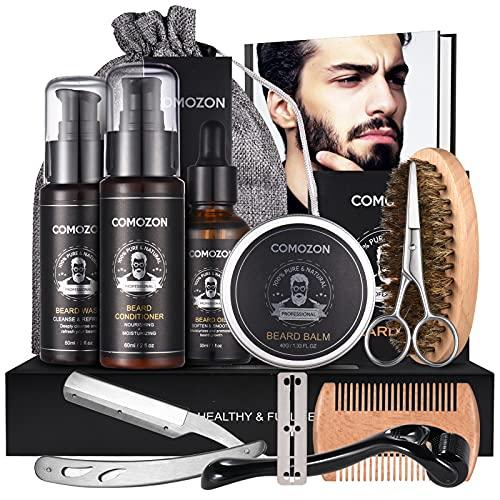 Bartpflege Set Mit Bartroller Bartwuchsmittel Für Männer comozon Beard Growth Set Bart Wachstum...