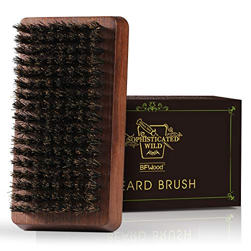 BFWood Bartbürste aus Wildschweinborste - Griff aus Schwarznussholz, ideal zur Pflege von Bärten und...