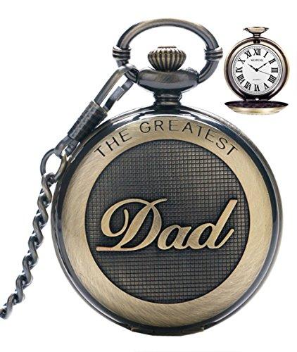 SRXWO Herren Taschenuhr Uhr Analog Quarz Taschen Uhren mit Edelstahl Kette Armband für Vati/Großvater Retro